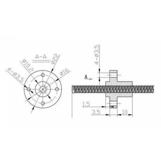 Husillo trapezoidal díametro 8mm Longitud 300mm / 350mm / 400mm / 500mm con tuerca de cobre o POM