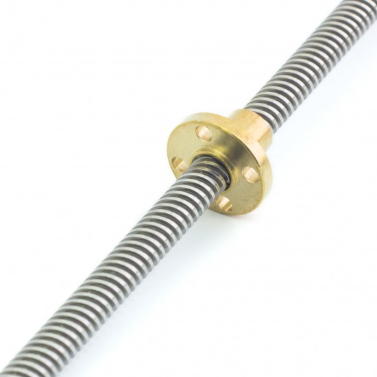 Husillo trapezoidal díametro 8mm T8x8 Longitud 300mm / 350mm / 400mm / 500mm / 600mm con tuerca de cobre o POM
