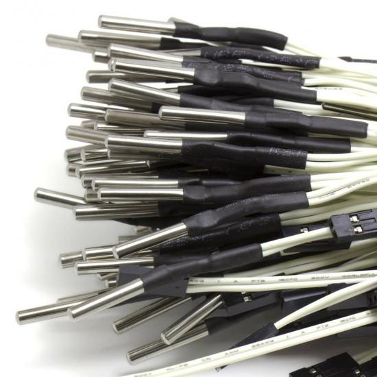 Termistor 100K ohm NTC 3950 encapsulado 3mm - cableado - Max 350ºC