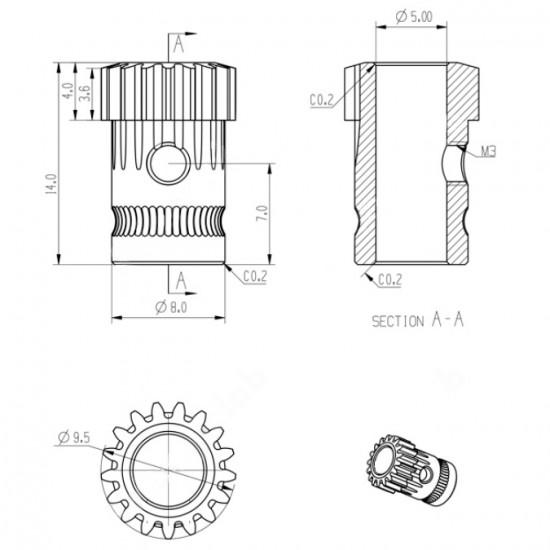 Set de poleas de tracción doble para extrusor - Estilo Bondtech - Compatible con estrusores tipo Mk2/Mk3