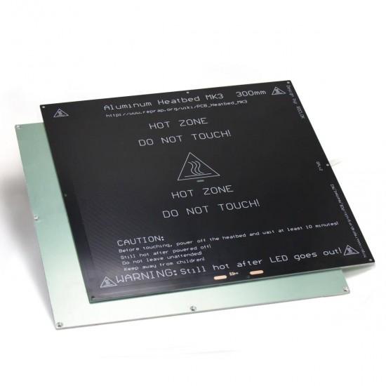 MK3 ALU Cama Caliente 300x300 24v - 400w - Con orificios avellanados para cabeza del tornillo