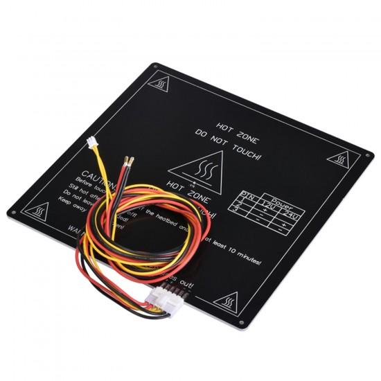 MK3 ALU Cama Caliente 220x220 12v - Con orificios avellanados para cabeza del tornillo y Con conexión preparada