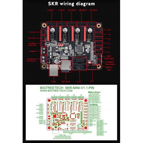 SKR Mini V1.1 Placa para Impresora 3D de 32 bits ARM compatible con UART a trávés de la placa 12/24v