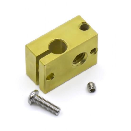 Brass heating block v6 for 3mm PT100 thermistor - M6 Thread - v5 and v6 compatible
