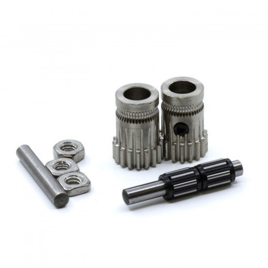 Set of double traction drive hardened nickel plated steel gears for extruder - Bondtech style - Compatible with Mk2 / Mk3 type extruders