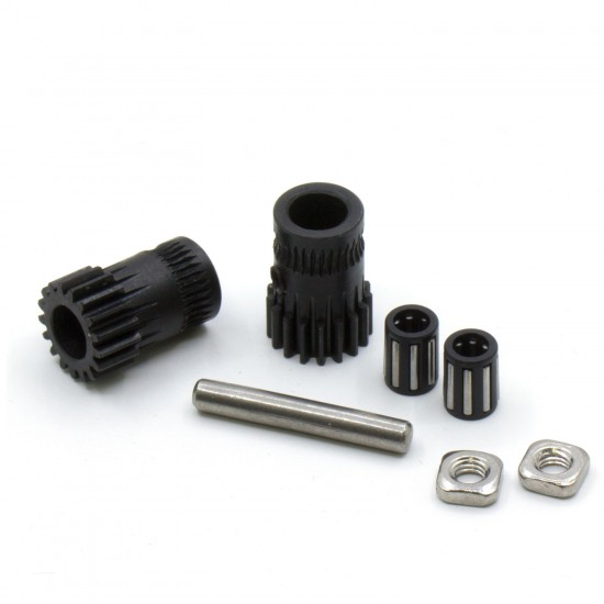 Set of double traction drive hardened steel gears for extruder - Bondtech style - Compatible with Mk2 / Mk3 type extruders