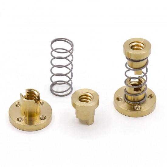 Tuerca de cobre con muelle T8x2 Spring Nut para husillo trapezoidal díametro 8mm