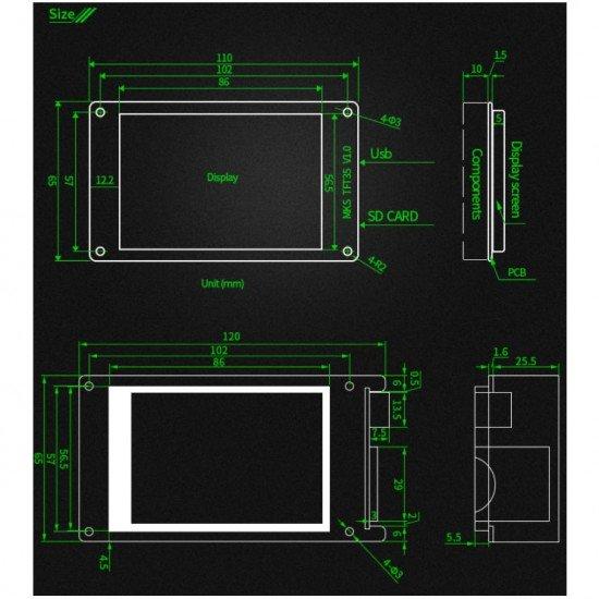 TFT35 pantalla táctil - 3,5 pulgadas - MKS