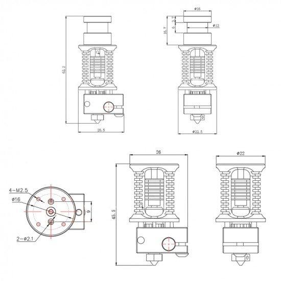 Dragon Hotend - Súper preciso y Alta calidad - Gran disipación de calor y resistencia - Flujo Estandar SF