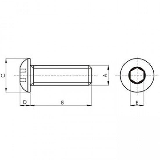 Tornillo ISO-7380 pavonado de cabeza abombada con hueco hexagonal, Acero 10.9, Rosca métrica