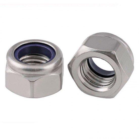 Tuerca hexagonal DIN-985 de seguridad con arandela plástica, Acero (c-8) cincado, Rosca métrica.
