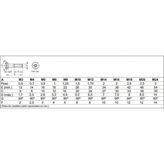 Tornillo DIN-7991 Cabeza avellanada con hueco hexagonal, Acero (10.9) pavonado, Rosca métrica