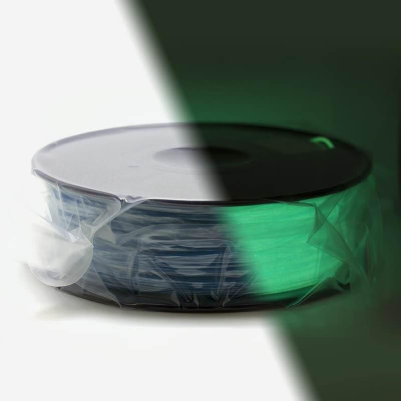 Bobina filamento PLA 3D - Brilla en la oscuridad - Fluorescente - 1.75mm - 1kg