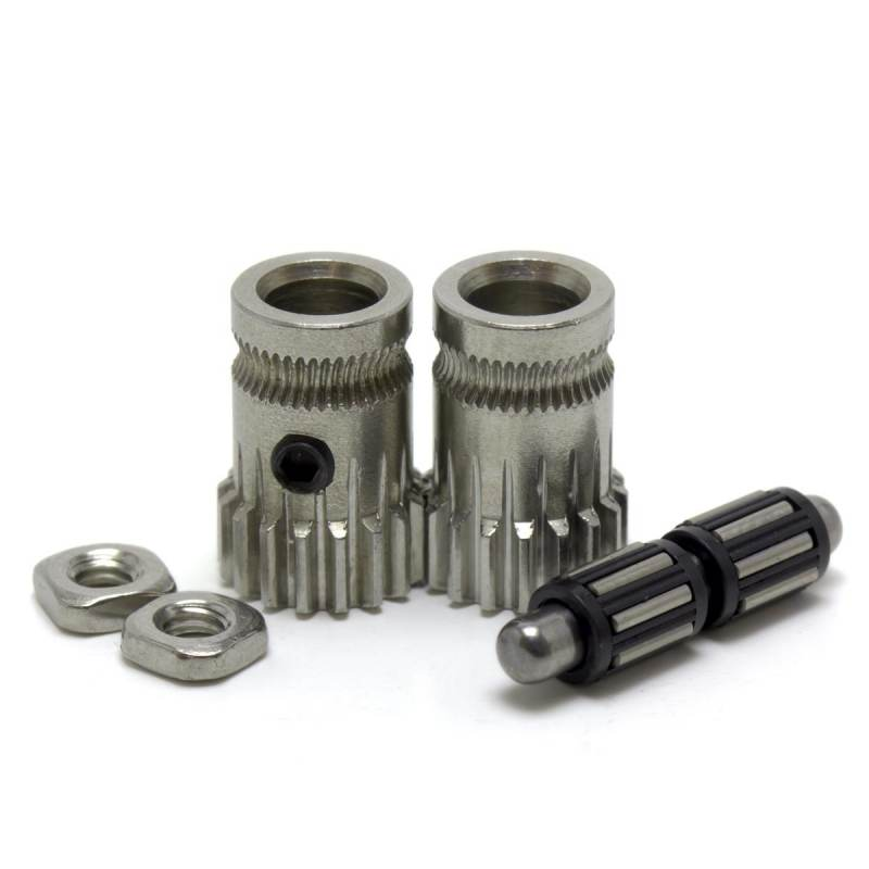 Set of double traction drive gears for extruder - Bondtech style - Compatible with Mk2 / Mk3 type extruders